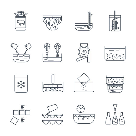 jeu de ligne mince icônes fabrication de produits processus de production laitière Vecteurs
