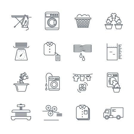 set of thin line icons laundry service production process  イラスト・ベクター素材