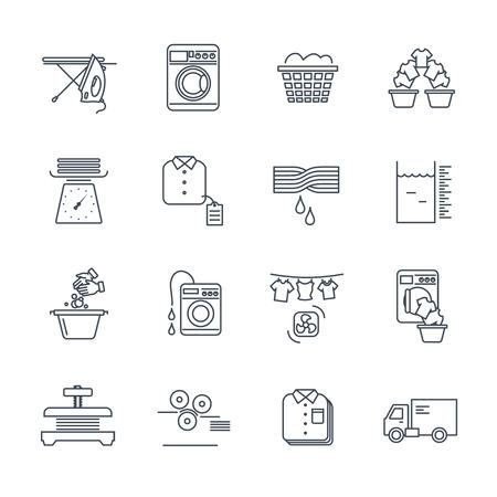 set of thin line icons laundry service production process Ilustração