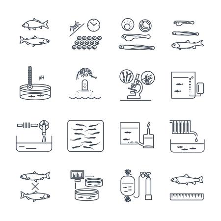 set of thin line icons aquaculture production process, fish farming