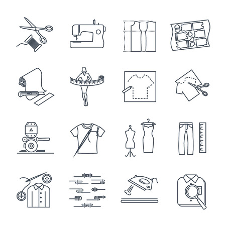 set of thin line icons apparel, clothing, garment manufacturing, sewing process