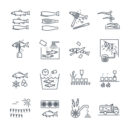 set of thin line icons processing and preserving of fish