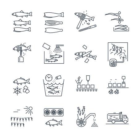 Ensemble d'icônes de lignes fines traitement et conservation du poisson Banque d'images - 69918892