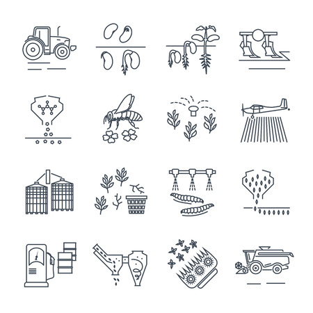 Set of thin line icons agriculture, farming, crop production.