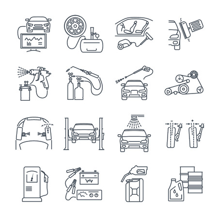 camber: Set of thin line icons servicing, maintenance, repair of car and auto.