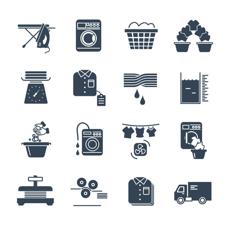 Set of black icons laundry service production process.