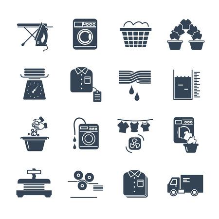 Set of black icons laundry service production process.