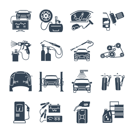 car: set of black icons servicing, maintenance, repair of car and auto Illustration