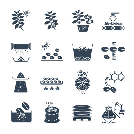 set of black icons coffee production and processing Vectores