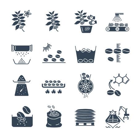 Ensemble d'icônes noires Production et traitement du café Vecteurs