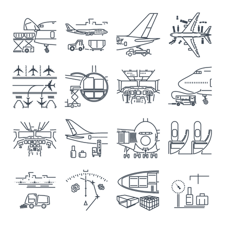 Set of thin line icons airport and airplane, freight, cargo aircraft Vettoriali