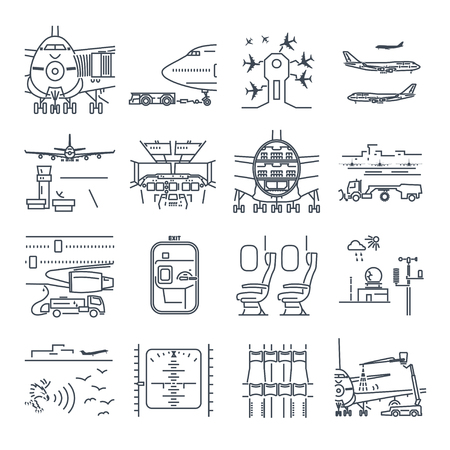 Set of thin line icons airport and airplane, ground handling, plane  maintenance Illustration