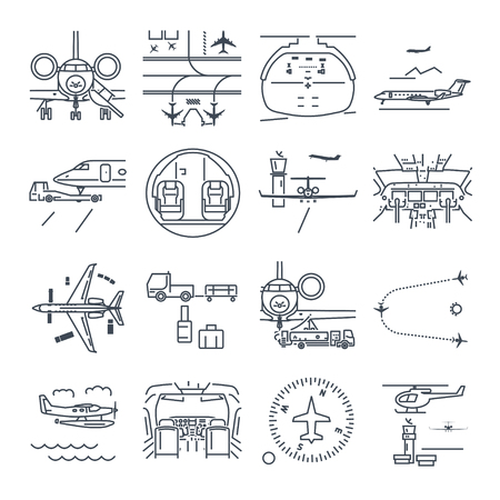 Set of thin line icons airport and airplane, business jet Illustration