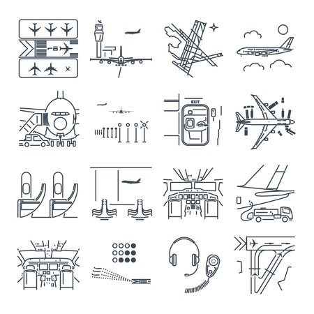Set of thin line icons airport and airplane, terminal, runway, cockpit Illustration