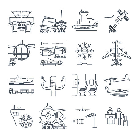 Set of thin line icons airport and airplane, control tower, aircraft Vectores