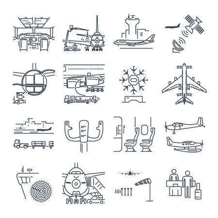 Set von dünnen Linie Icons Flughafen und Flugzeug, Kontrollturm, Flugzeuge Standard-Bild - 75996613