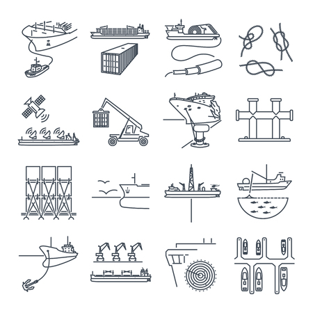 Set of thin line icons water transport and sea port, container ship, tug Illustration