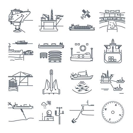 細い線アイコン水輸送や港、石油プラットフォーム、乾燥した貨物船、ばら積み貨物船のセット