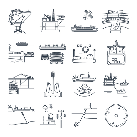 set of thin line icons water transport and sea port, oil platform, dry cargo ship, bulk carrier