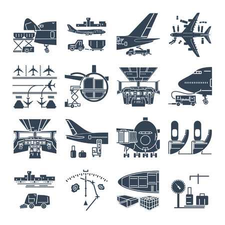 set of black icons airport and airplane, freight, cargo aircraft