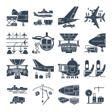 zestaw ikon czarny lotnisko i samolot, ładunków, samolotów towarowych