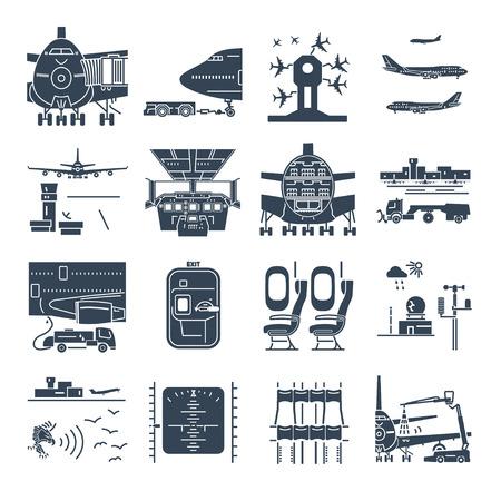 Reihe von schwarzen Icons Flughafen und Flugzeug, Bodenabfertigung, Flugzeugwartung Vektorgrafik