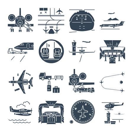 ensemble d'icônes noires aéroport et avion, jet d'affaires