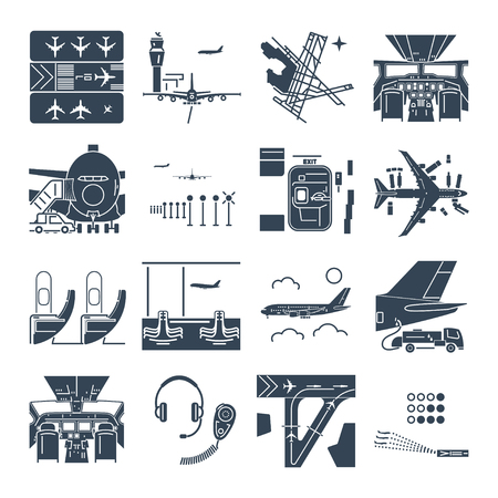 set of black icons airport and airplane, terminal, runway, cockpit