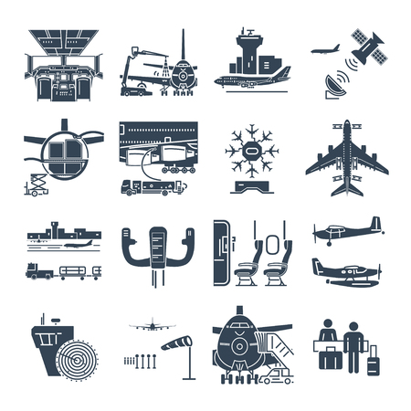 set of black icons airport and airplane, control tower, aircraft