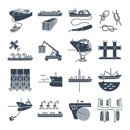 set di icone nere trasporto di acqua e porto marittimo, nave container, rimorchiatore