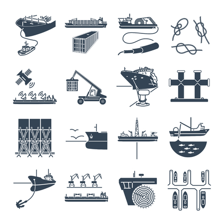 set of black icons water transport and sea port, container ship, tug