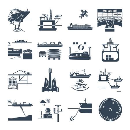 set of black icons water transport and sea port, oil platform, dry cargo ship, bulk carrier