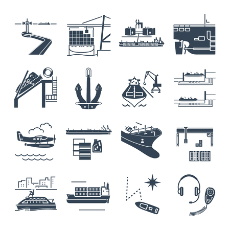 set of black icons water transport and sea port, merchant shipping, tanker, freighter