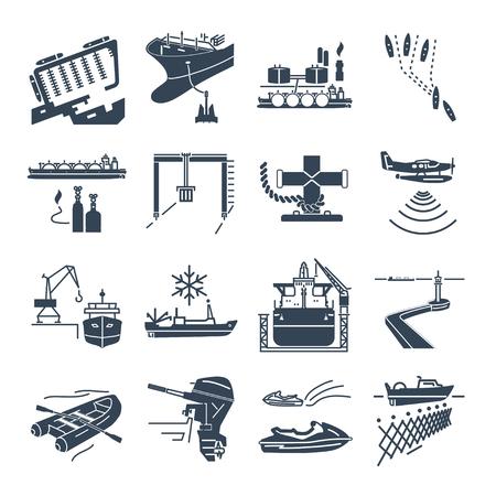 set di icone nere trasporto di acqua e porto marittimo, cisterna a gas, spedizione all'estero Vettoriali