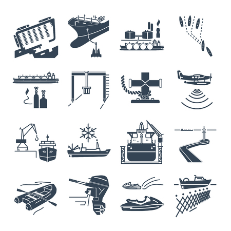 set of black icons water transport and sea port, gas tanker, overseas shipping