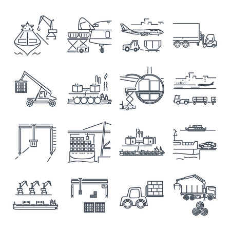 logging: set of thin line icons loading and unloading of goods, handling, warehousing