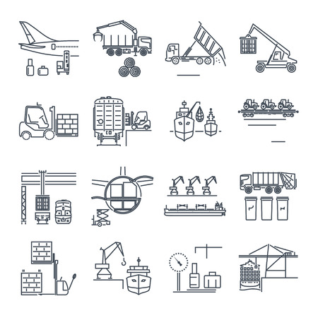 freight train: Set of thin line  cargo equipment icons for loading and unloading of goods, handling, storage Illustration