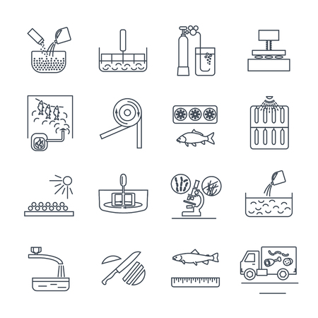set of thin line icons food, meal production process, fish, meat, cooking