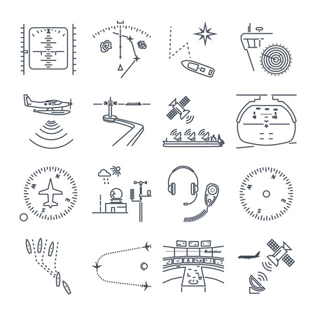 ensemble d'icônes de fine ligne navigation maritime et aérienne, pilotage, équipement, appareils