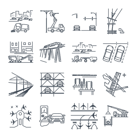 set of thin line icons transport infrastructure, road, air, train