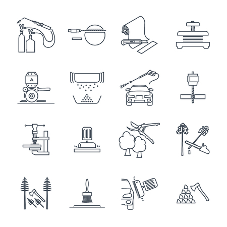 set of thin line icons electrical hand tools, equipment, repair