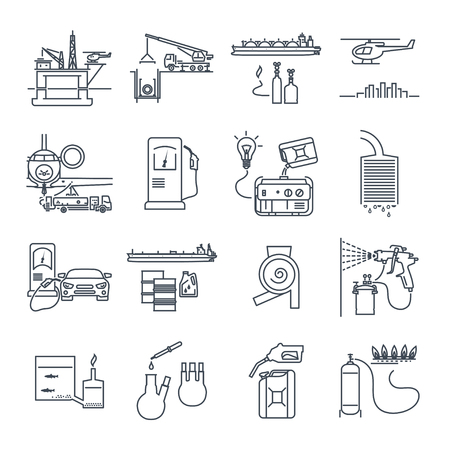 set of thin line icons fuel, gas, oil transport, production, industry
