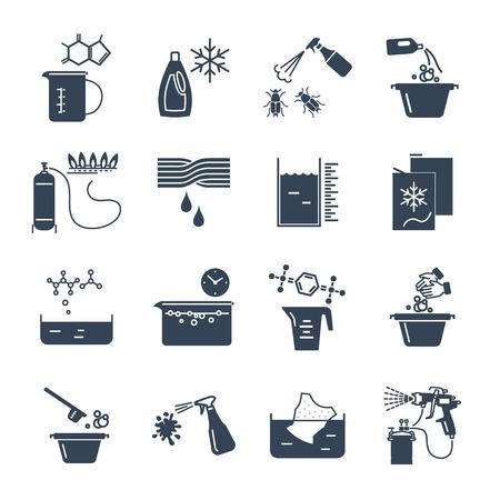 Set of black icons household chemicals, cleaner, detergent Illustration