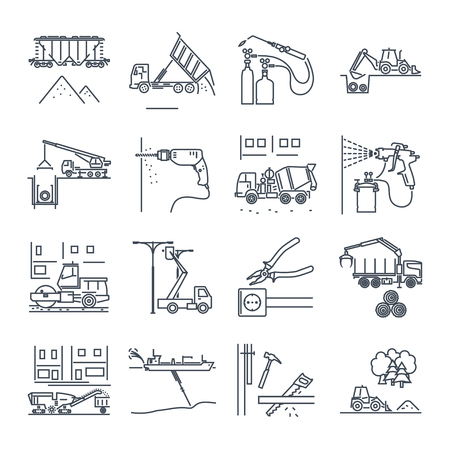 set of thin line icons construction and renovation, technology, tools, equipment Çizim