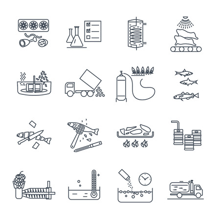 Set of thin line icons food, meal production process, cooking Standard-Bild - 90659577