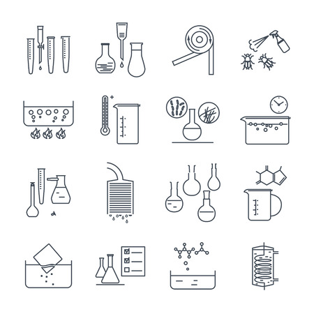 Set of thin line icons chemical laboratory, quality control
