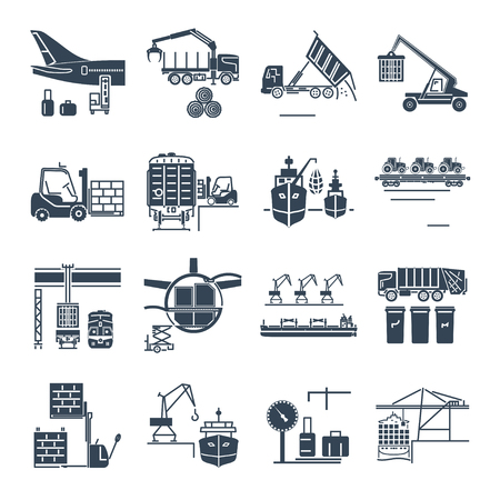 Set of black icons loading and unloading of goods, handling, storage