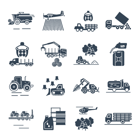 Set of black icons agricultural machinery, equipment, farming, tractor, combine.