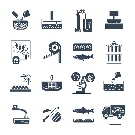 Set of black icons food, meal production process, fish, meat, cooking.