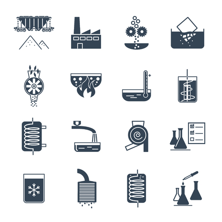 Set of black icons industrial production, manufacturing process, technology, equipment.